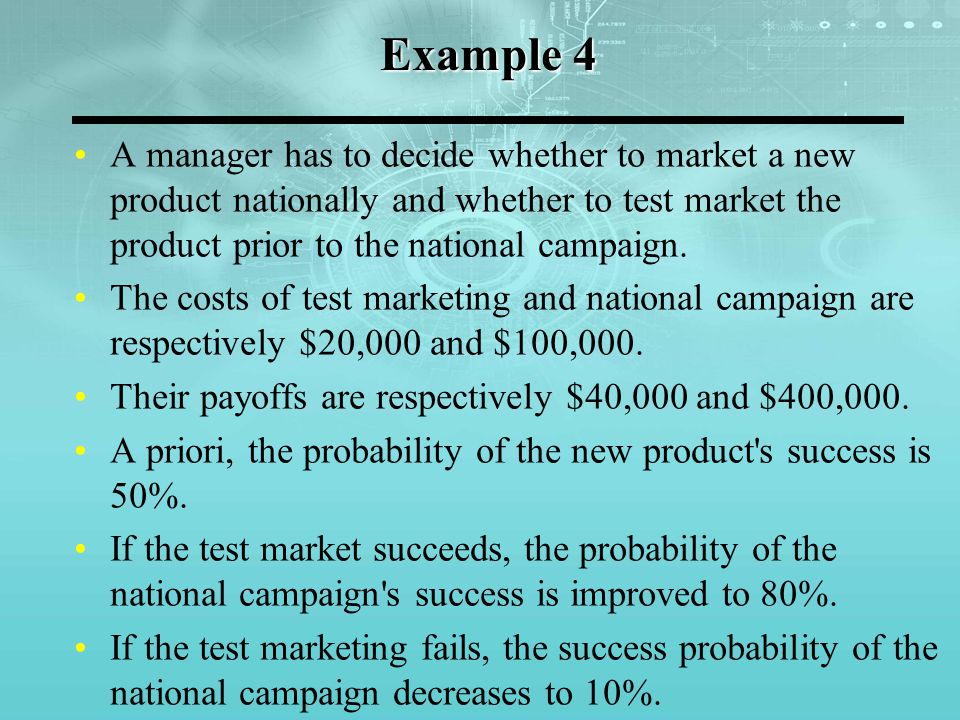 A manager has to decide whether to market a new product nationally and whether to test market the product prior to the national campaign.