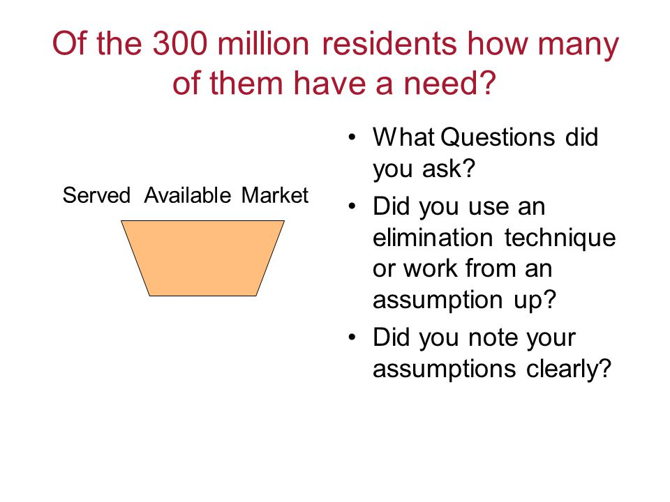 Of the 300 million residents how many of them have a need? What Questions did you ask? Did you use an elimination technique or work from an assumption