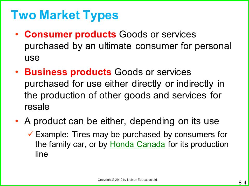 Copyright © 2010 by Nelson Education Ltd. 8-4 Two Market Types Consumer products Goods or services purchased by an ultimate consumer for personal use