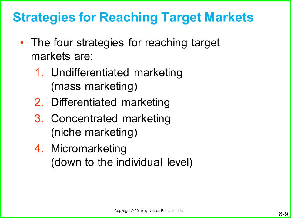 Copyright © 2010 by Nelson Education Ltd. 8-9 Strategies for Reaching Target Markets The four strategies for reaching target markets are: 1.Undifferen