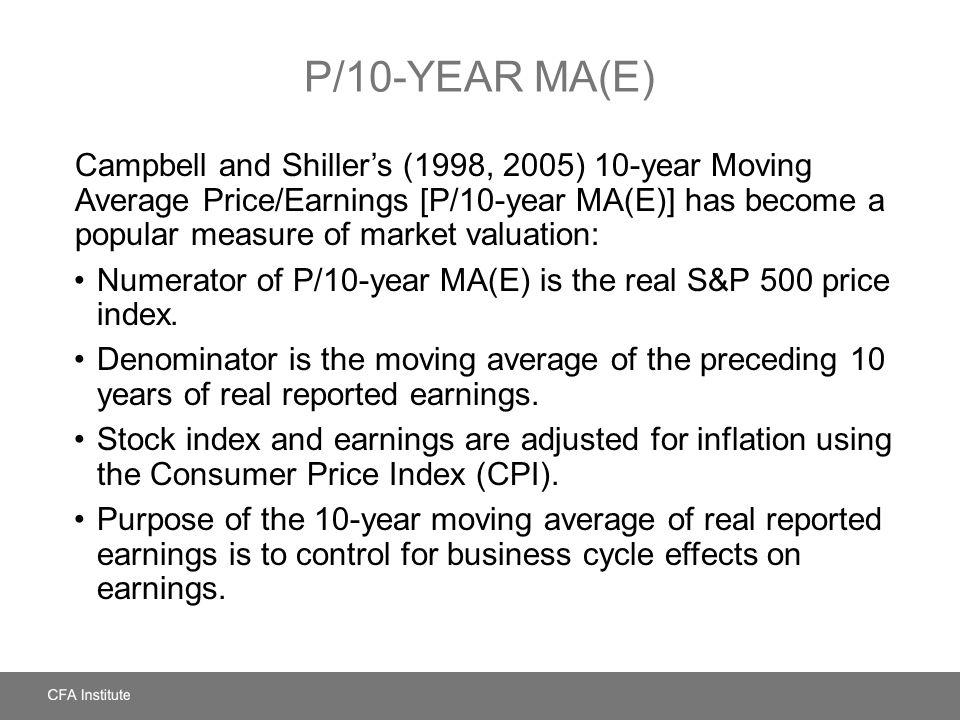 P/10-YEAR MA(E) Campbell and Shillers (1998, 2005) 10-year Moving Average Price/Earnings [P/10-year MA(E)] has become a popular measure of market valu