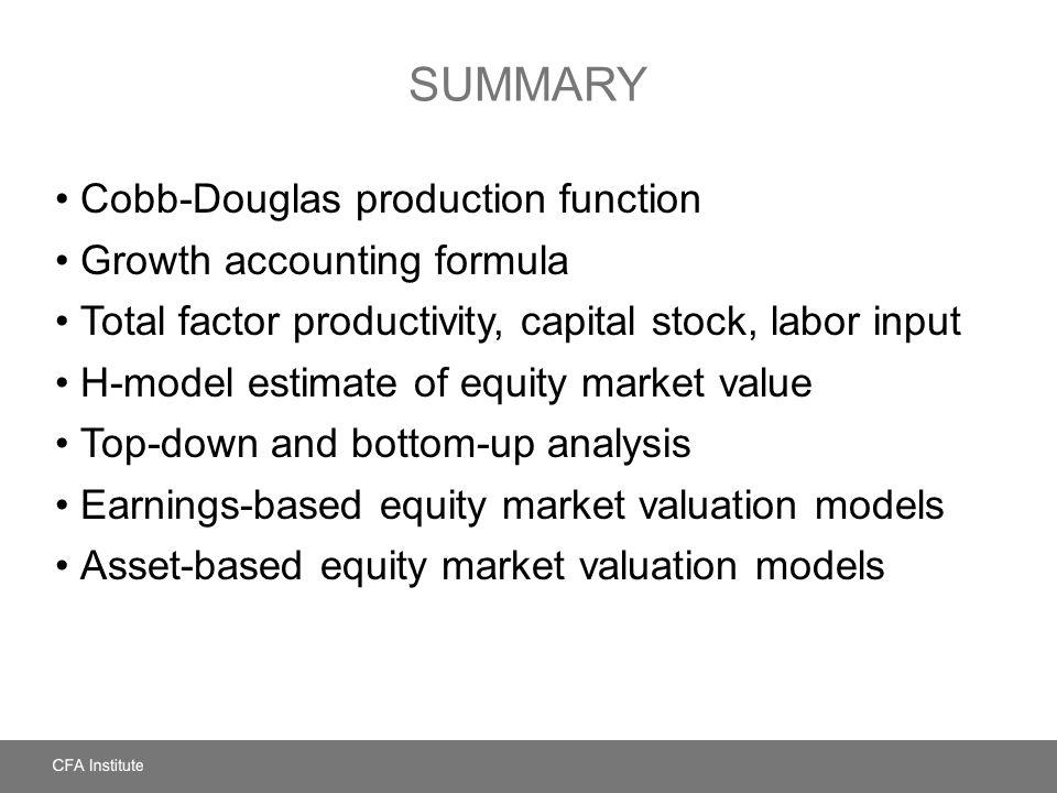 SUMMARY Cobb-Douglas production function Growth accounting formula Total factor productivity, capital stock, labor input H-model estimate of equity ma