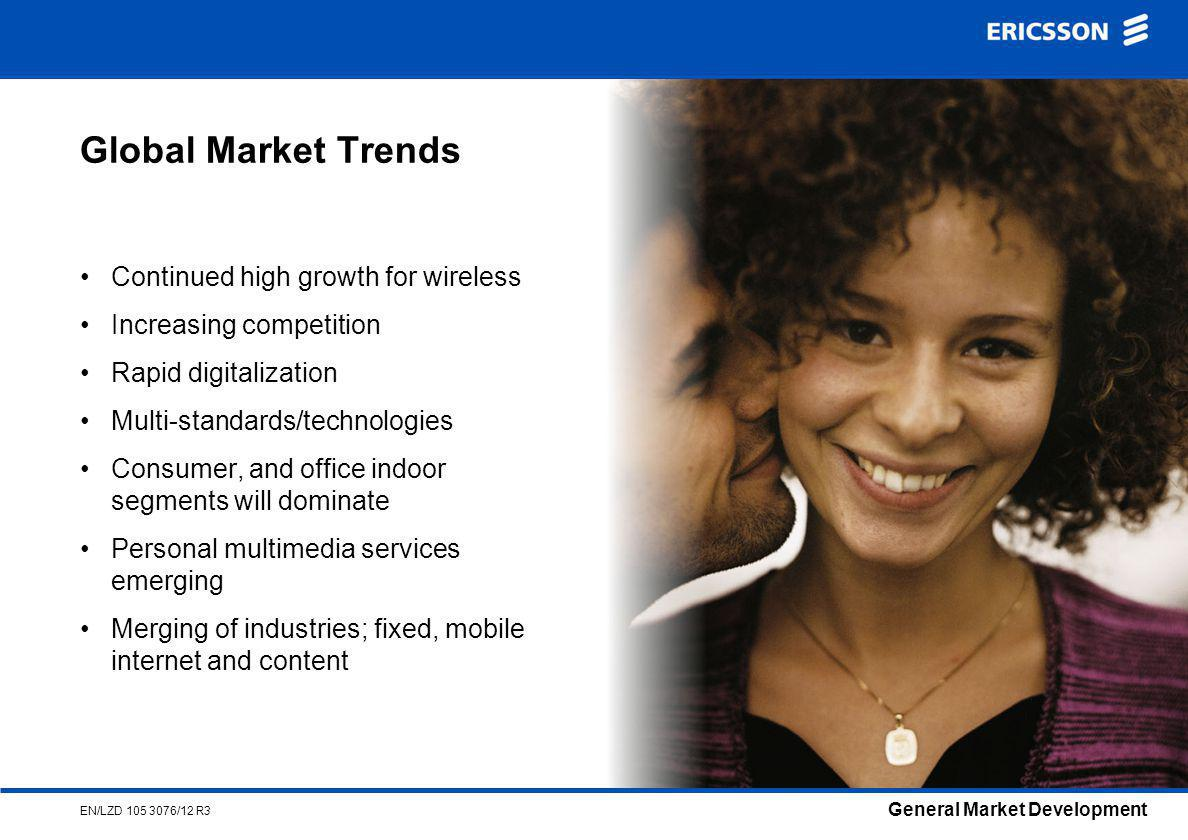 General Market Development EN/LZD /12 R3 Global Market Trends Continued high growth for wireless Increasing competition Rapid digitalization Multi-standards/technologies Consumer, and office indoor segments will dominate Personal multimedia services emerging Merging of industries; fixed, mobile internet and content
