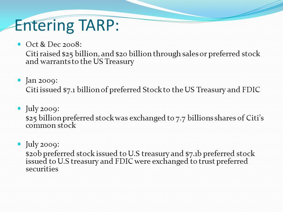 Entering TARP: Oct & Dec 2008: Citi raised $25 billion, and $20 billion through sales or preferred stock and warrants to the US Treasury Jan 2009: Cit