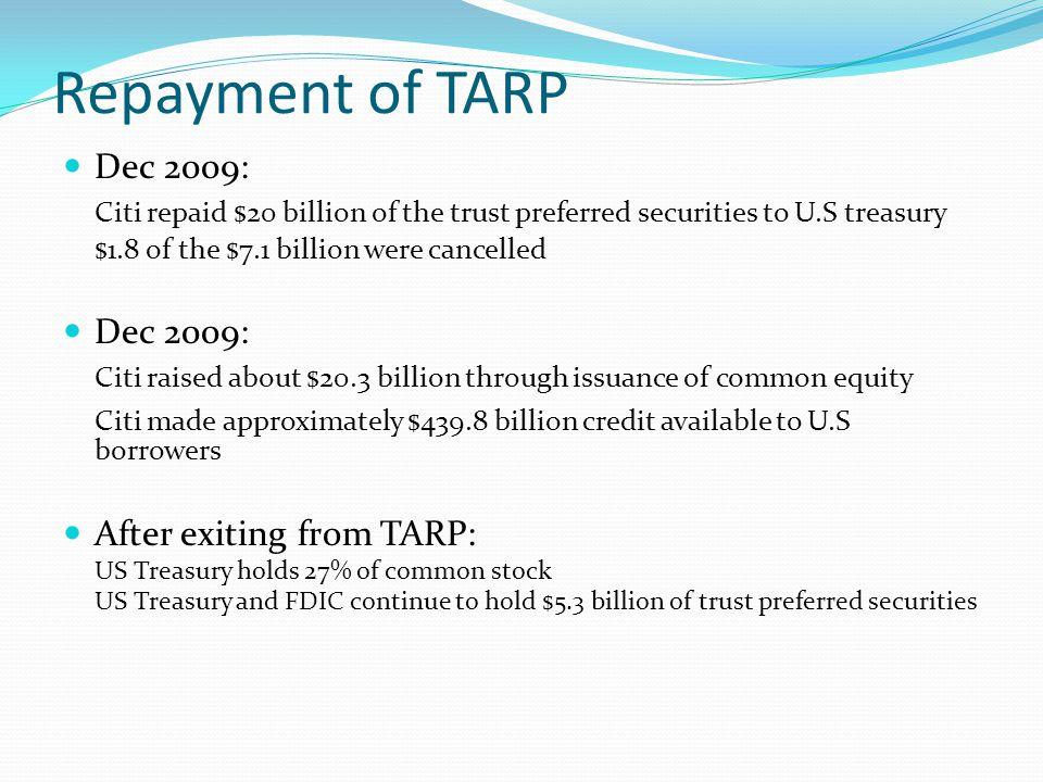 Repayment of TARP Dec 2009: Citi repaid $20 billion of the trust preferred securities to U.S treasury $1.8 of the $7.1 billion were cancelled Dec 2009