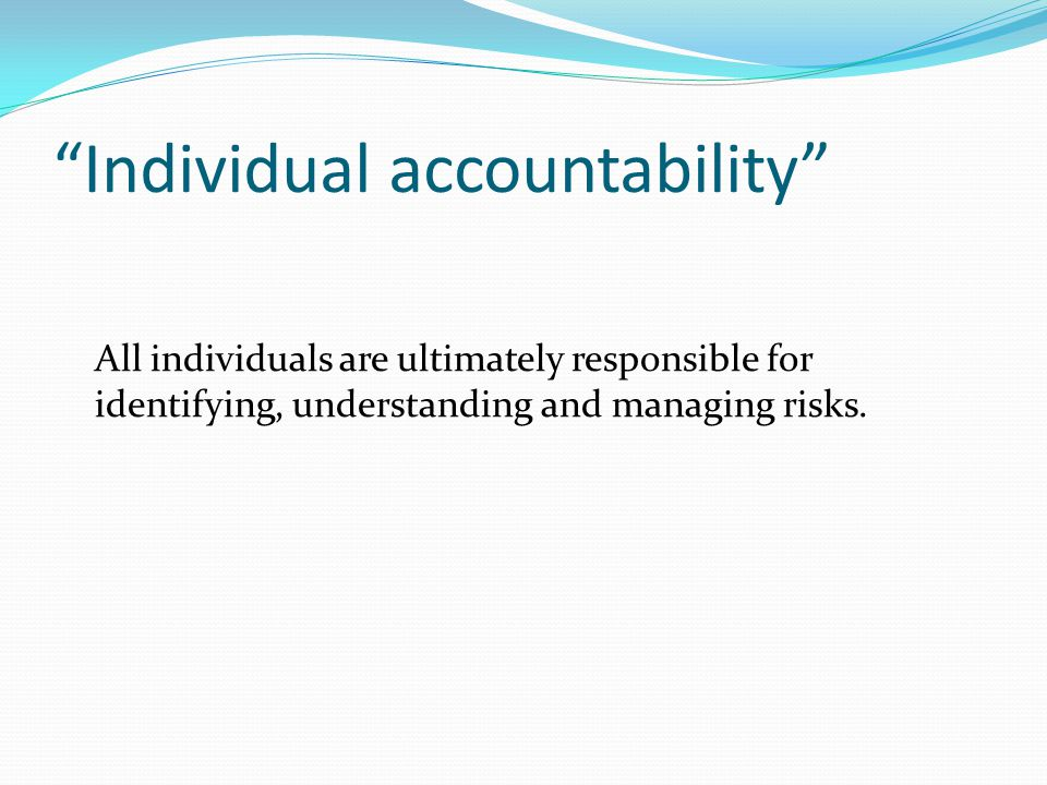 Individual accountability All individuals are ultimately responsible for identifying, understanding and managing risks.