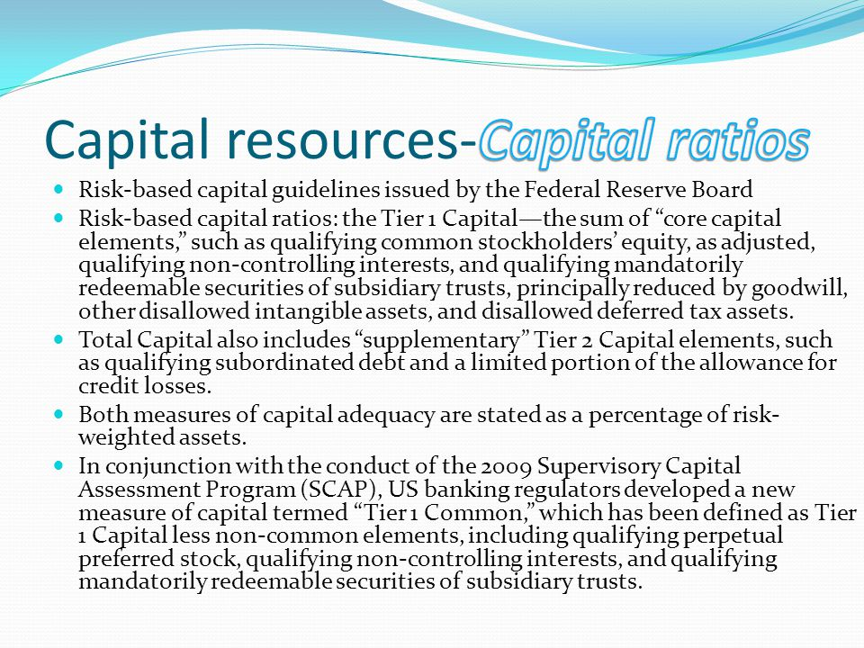 Risk-based capital guidelines issued by the Federal Reserve Board Risk-based capital ratios: the Tier 1 Capitalthe sum of core capital elements, such