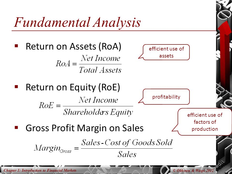 Chapter 1: Introduction to Financial Markets © Oltheten & Waspi 2012 Fundamental Analysis Return on Assets (RoA) Return on Equity (RoE) Gross Profit M