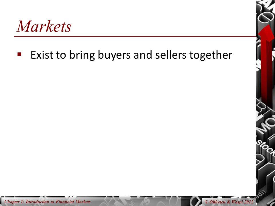 Chapter 1: Introduction to Financial Markets © Oltheten & Waspi 2012 Markets Labor markets.