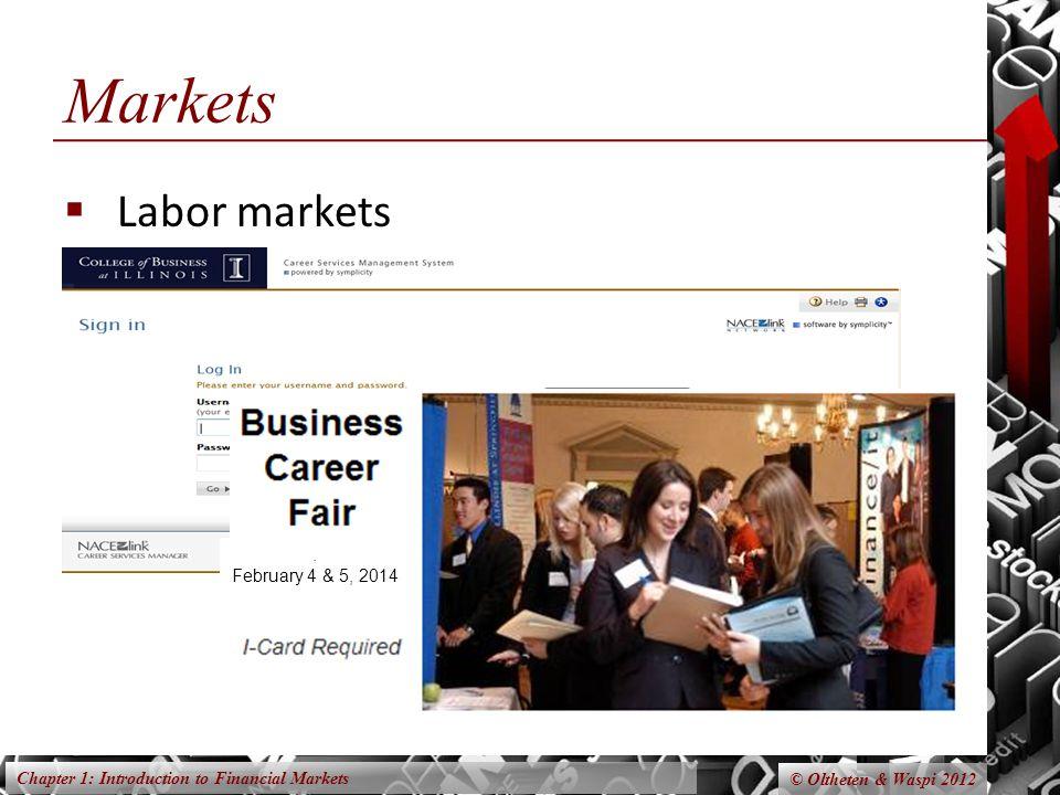 Chapter 1: Introduction to Financial Markets © Oltheten & Waspi 2012 Markets Labor markets. February 4 & 5, 2014