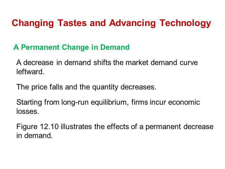 Changing Tastes and Advancing Technology A Permanent Change in Demand A decrease in demand shifts the market demand curve leftward. The price falls an