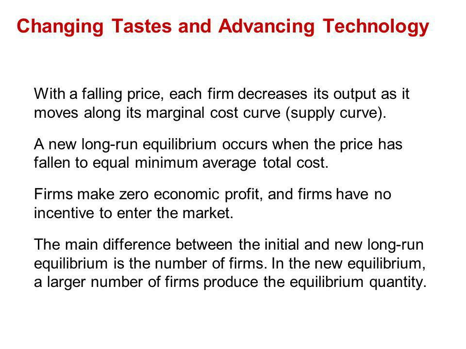 With a falling price, each firm decreases its output as it moves along its marginal cost curve (supply curve). A new long-run equilibrium occurs when