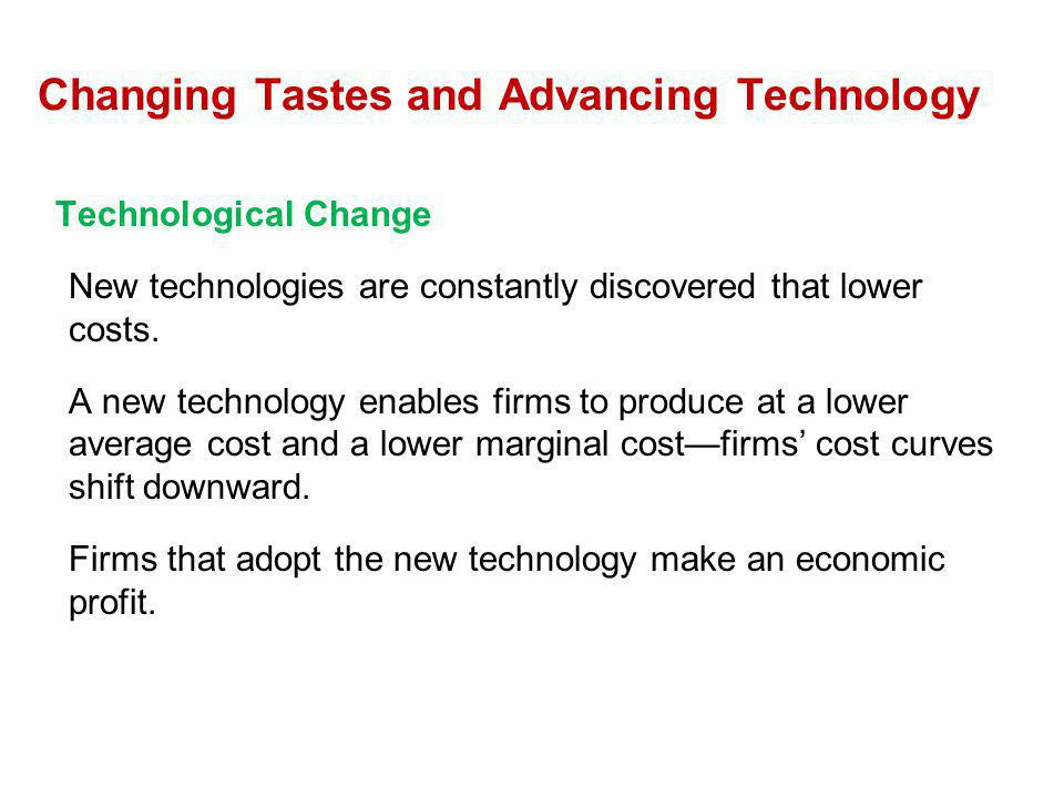 Technological Change New technologies are constantly discovered that lower costs. A new technology enables firms to produce at a lower average cost an