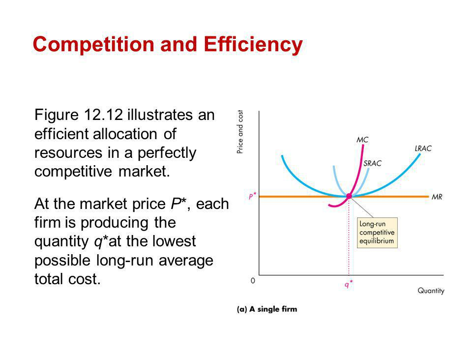 Figure 12.12 illustrates an efficient allocation of resources in a perfectly competitive market. At the market price P*, each firm is producing the qu