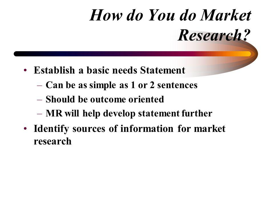 How do You do Market Research? –Facilitated by MR Group Leader Makes initial suggestions to begin session Tracks time Writes down ideas Reminds everyo