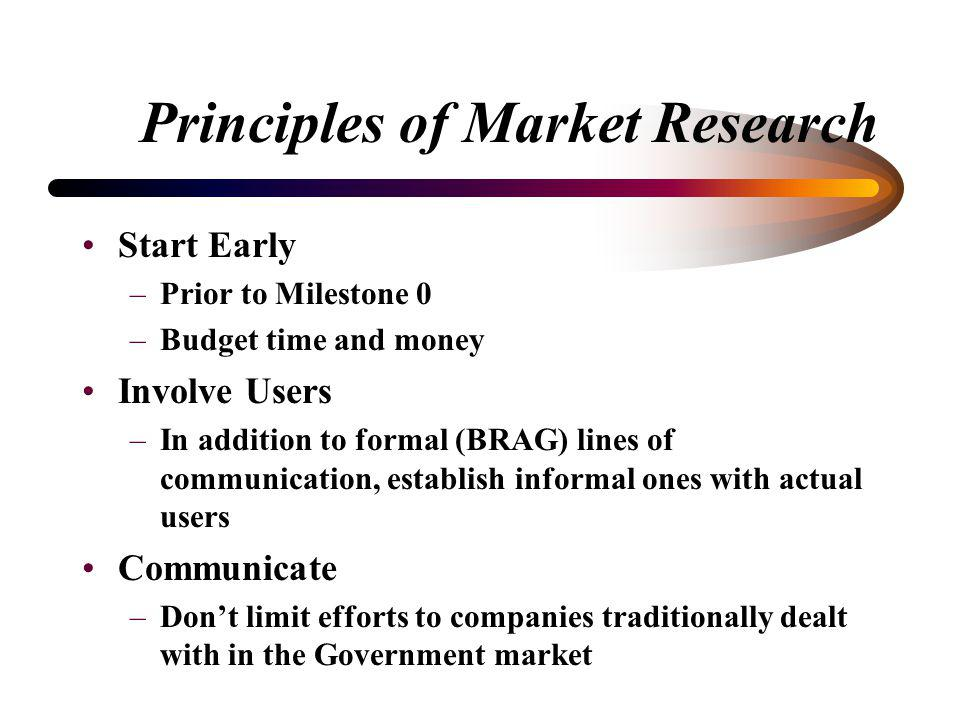 Principles of Market Research Start Early Involve Users Communicate Think of Market Research as an Iterative Process Tailor the Investigation Refine a