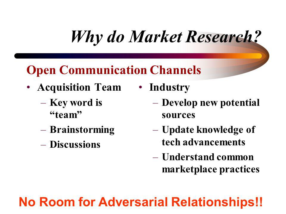 Why do Market Research? Agencies are required to conduct market research appropriate to the circumstances : –While developing (finalizing) new require