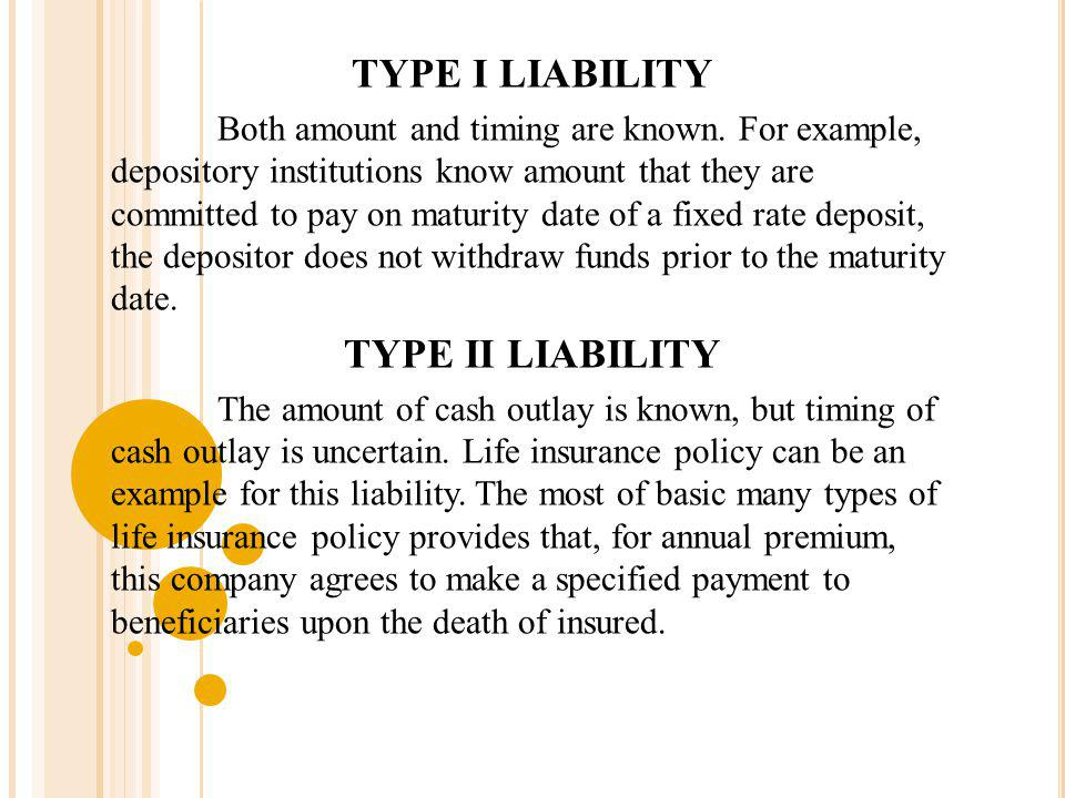 TYPE I LIABILITY Both amount and timing are known. For example, depository institutions know amount that they are committed to pay on maturity date of