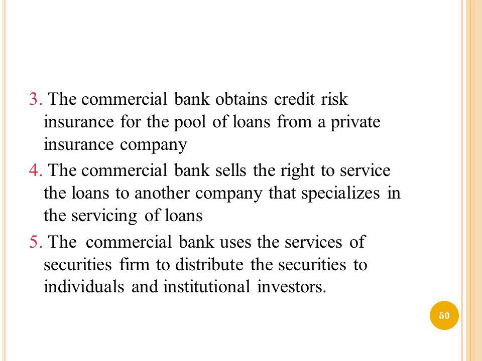 3. The commercial bank obtains credit risk insurance for the pool of loans from a private insurance company 4. The commercial bank sells the right to