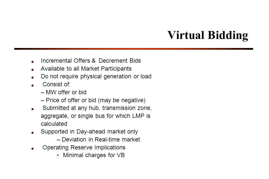 Virtual Bidding Incremental Offers & Decrement Bids Available to all Market Participants Do not require physical generation or load Consist of: – MW offer or bid – Price of offer or bid (may be negative) Submitted at any hub, transmission zone, aggregate, or single bus for which LMP is calculated Supported in Day-ahead market only – Deviation in Real-time market Operating Reserve Implications Minimal charges for VB
