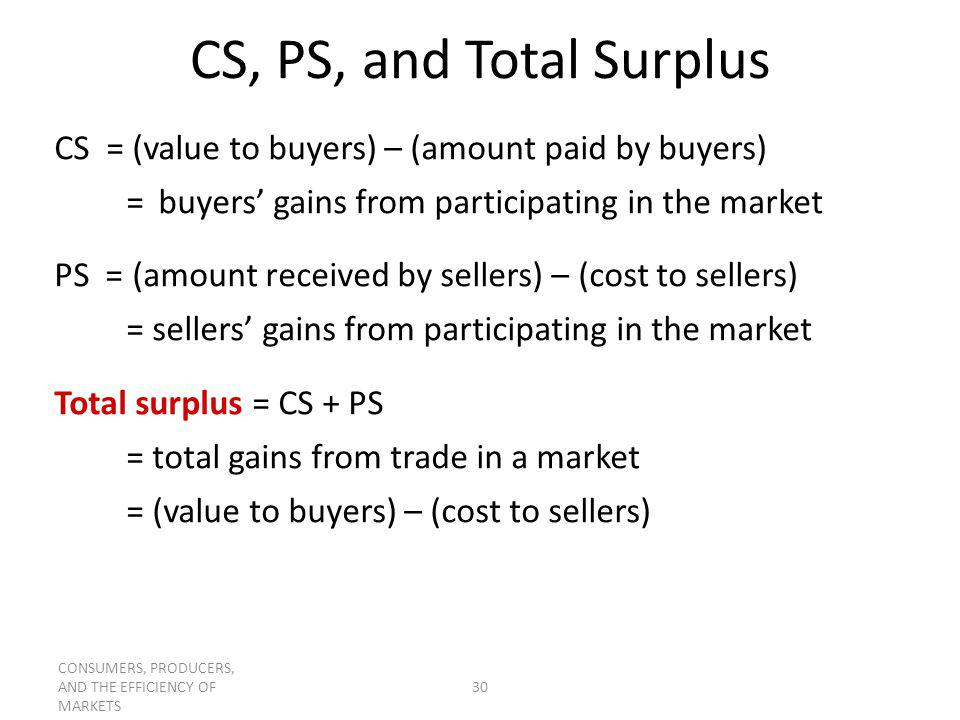 CONSUMERS, PRODUCERS, AND THE EFFICIENCY OF MARKETS 30 CS, PS, and Total Surplus CS = (value to buyers) – (amount paid by buyers) = buyers gains from