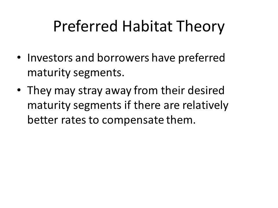 Preferred Habitat Theory Investors and borrowers have preferred maturity segments.