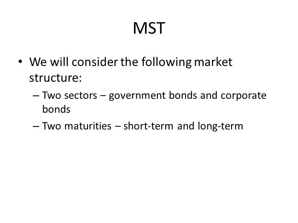 MST We will consider the following market structure: – Two sectors – government bonds and corporate bonds – Two maturities – short-term and long-term