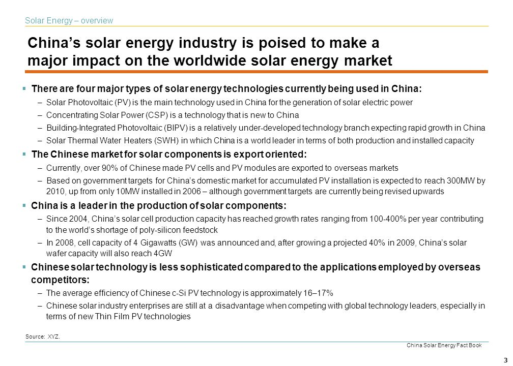 3 Chinas solar energy industry is poised to make a major impact on the worldwide solar energy market Solar Energy – overview Source: XYZ. There are fo