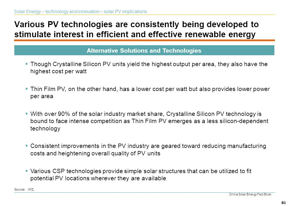 81 Various PV technologies are consistently being developed to stimulate interest in efficient and effective renewable energy Alternative Solutions an