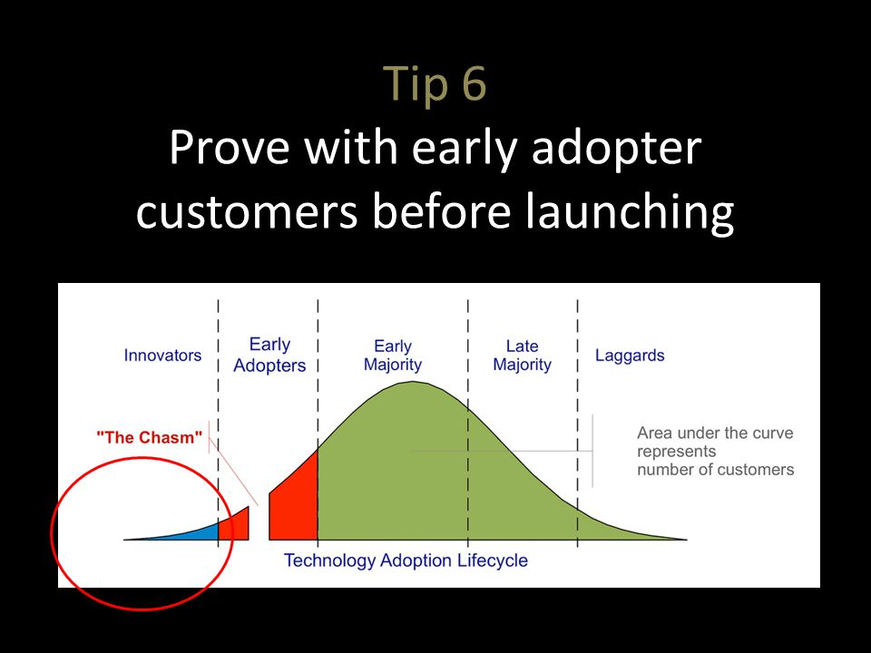 Tip 6 Prove with early adopter customers before launching