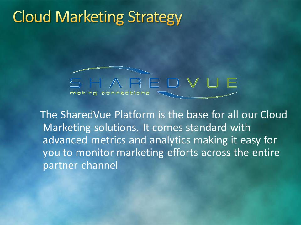 The SharedVue Platform is the base for all our Cloud Marketing solutions.