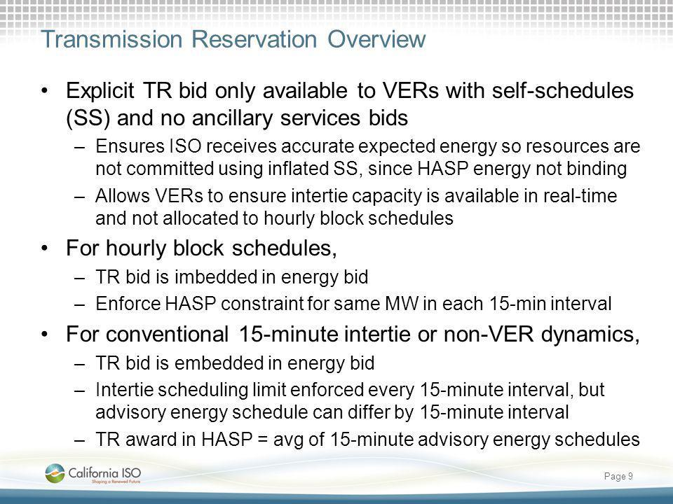 HASP transmission award would define priority for energy schedules and basis for congestion settlement HASP would award financially binding hourly transmission capacity, which is then used for financially binding energy schedules and AS awards within operating hour: –Intra-hour energy schedules: 15-minute intervals –Dynamic transfer energy: dispatch by 5-minute interval –Ancillary service awards: 15-minute intervals Unused intertie capacity would be released in each interval –Self-schedules would have higher priority within HASP transmission award Resources using released capacity would be charged the relevant real-time intertie shadow price Page 10