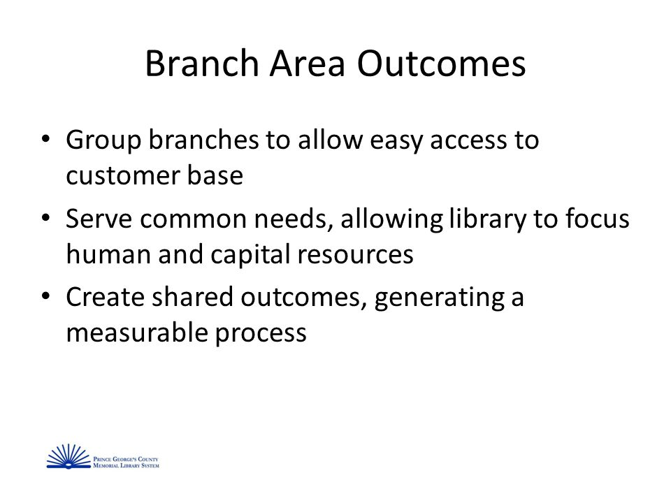 Branch Area Outcomes Group branches to allow easy access to customer base Serve common needs, allowing library to focus human and capital resources Create shared outcomes, generating a measurable process