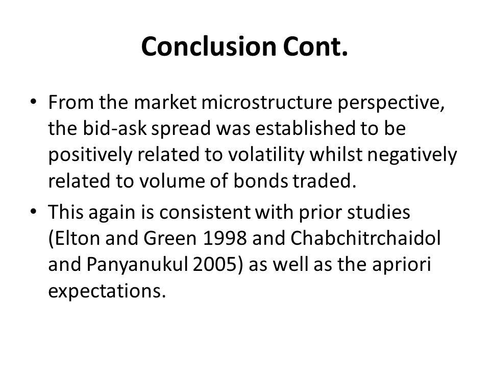 Conclusion Cont. From the market microstructure perspective, the bid-ask spread was established to be positively related to volatility whilst negative