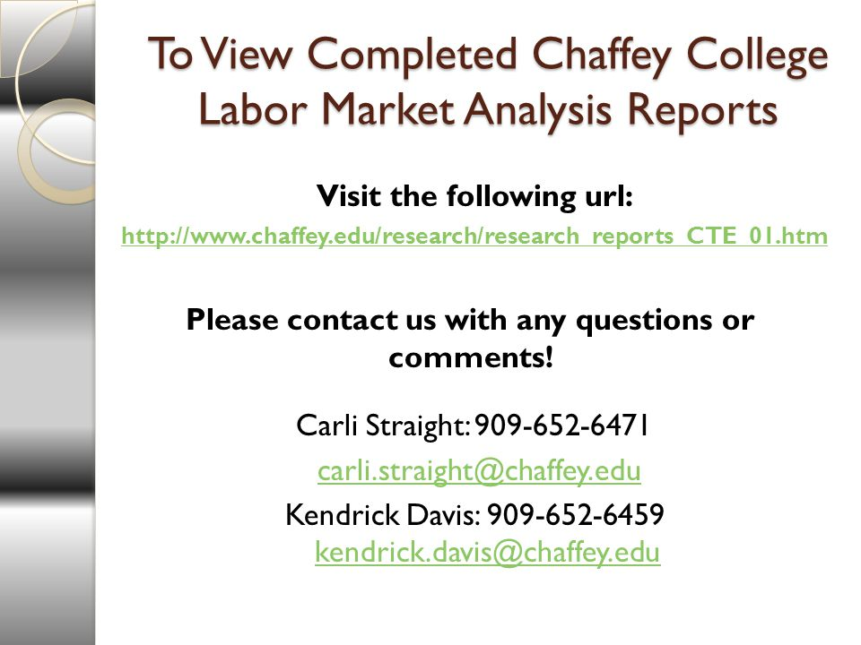 To View Completed Chaffey College Labor Market Analysis Reports Visit the following url:   Please contact us with any questions or comments.