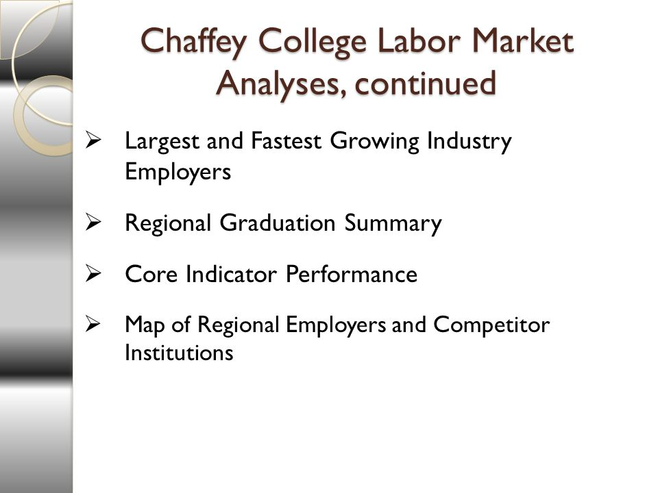 Chaffey College Labor Market Analyses, continued Largest and Fastest Growing Industry Employers Regional Graduation Summary Core Indicator Performance Map of Regional Employers and Competitor Institutions