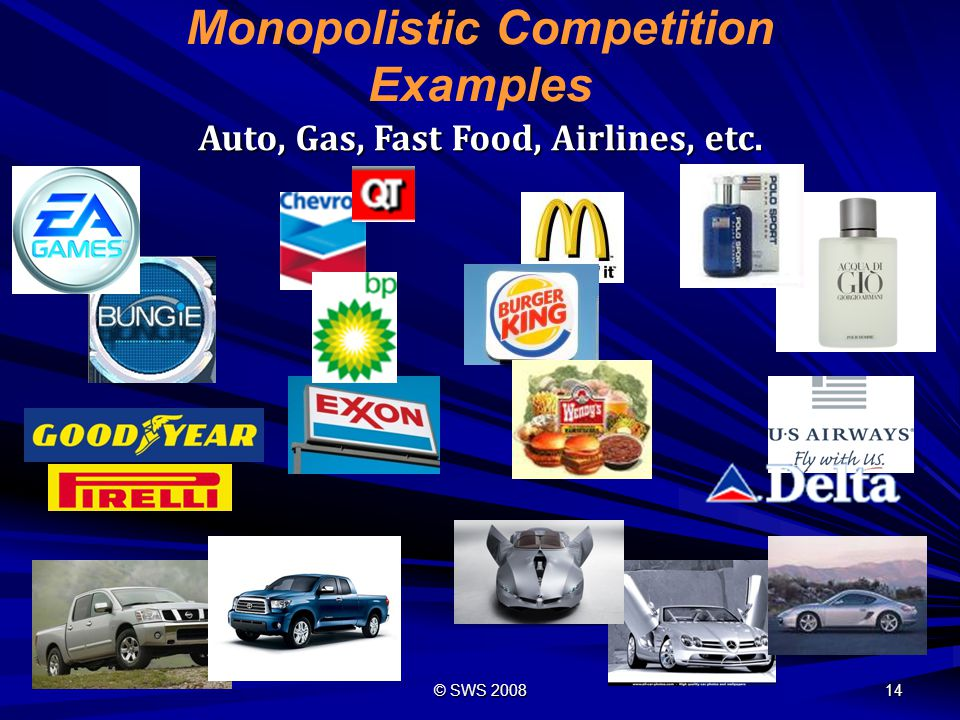 © SWS 2008 13 #2 Monopolistic Competition Non-Price Competition: Non-Price Competition involves the advertising of a product s appearance, quality, or design, rather than its price.