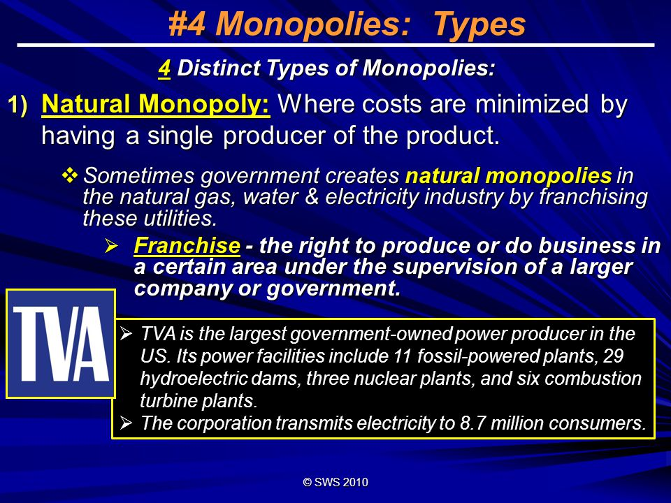 © SWS 2008 24 #4 Monopoly Conditions 1) There is a single seller 2) No substitute goods are available.