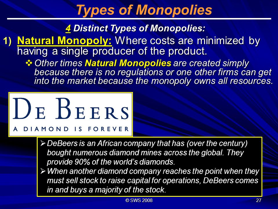 © SWS 2010 Types of Monopolies Natural Monopolies