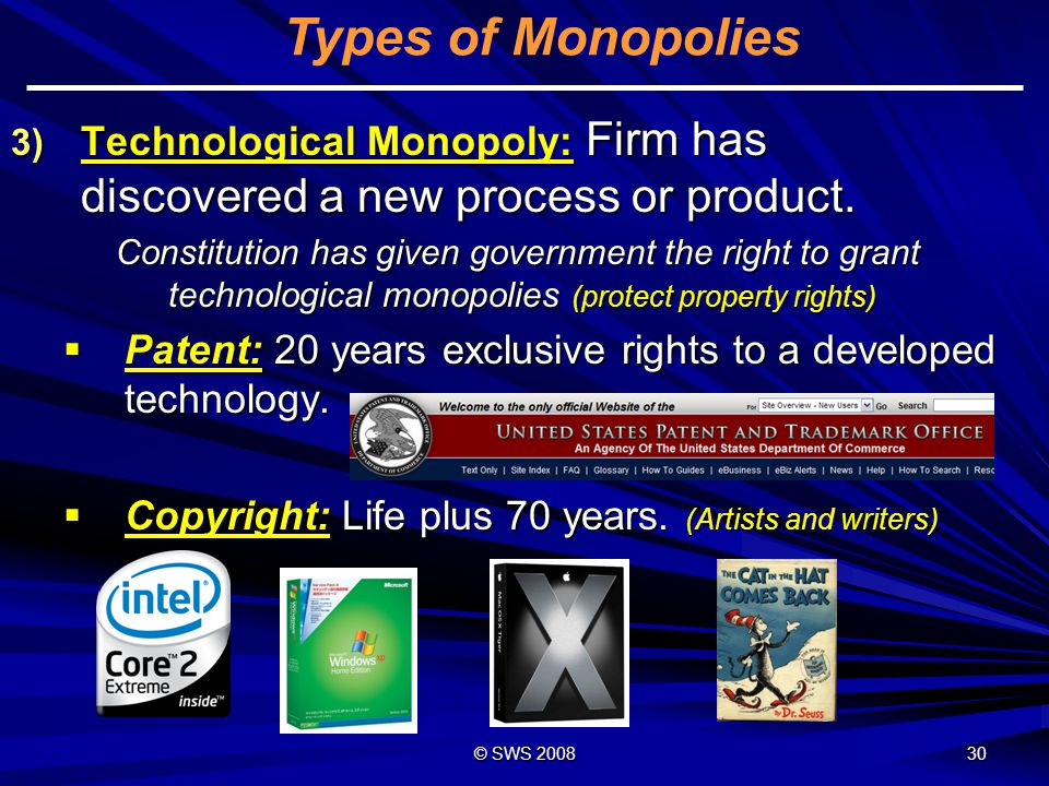 © SWS 2008 29 Types of Monopolies 2) Geographic Monopoly: The only business in a geographic region.