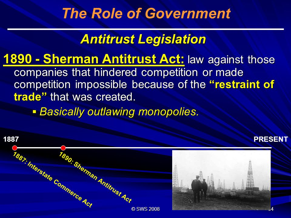 © SWS 2008 33 Government vs.Monopolies Trust: a legally formed combination of companies.