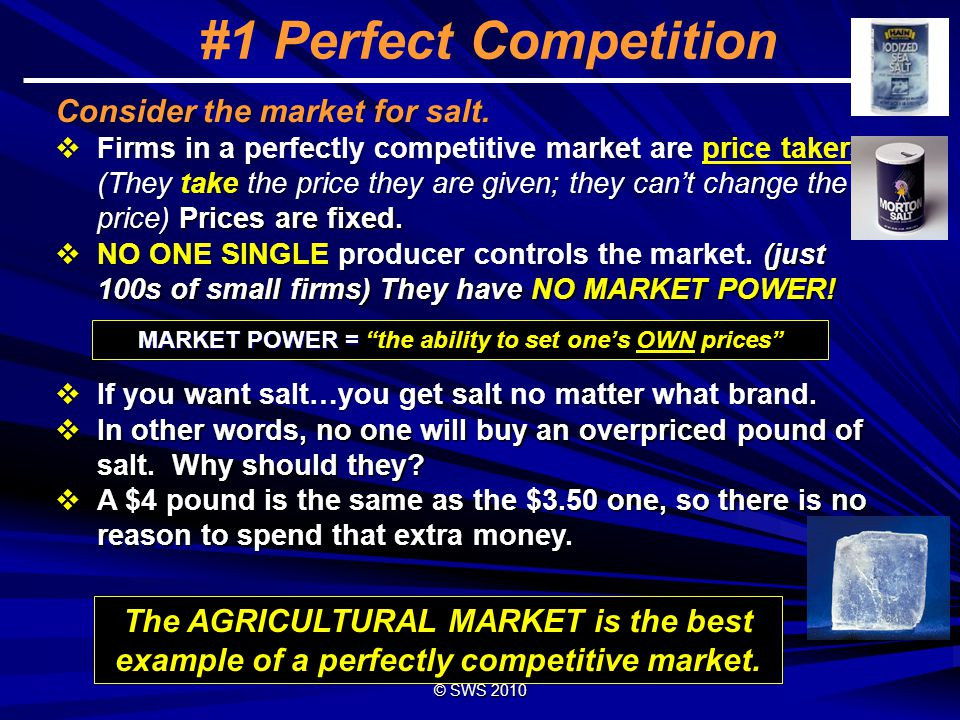 © SWS 2008 7 #1 Perfect Competition 1)INFINITE number of VERY SMALL firms.