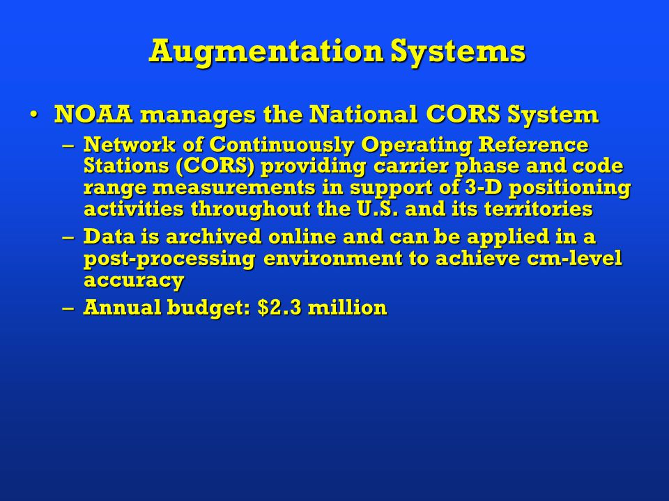DOC Represents Many Federal Users of GPS GPS applications within the DepartmentGPS applications within the Department –NOAA surveying (waterways, airports, heights) –NOAA vessel navigation and tracking –NOAA weather forecasting –NIST timing research –U.S.
