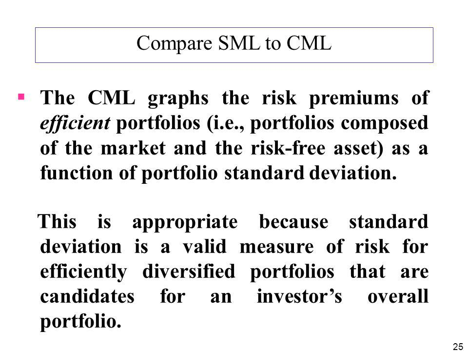 25 Compare SML to CML The CML graphs the risk premiums of efficient portfolios (i.e., portfolios composed of the market and the risk-free asset) as a