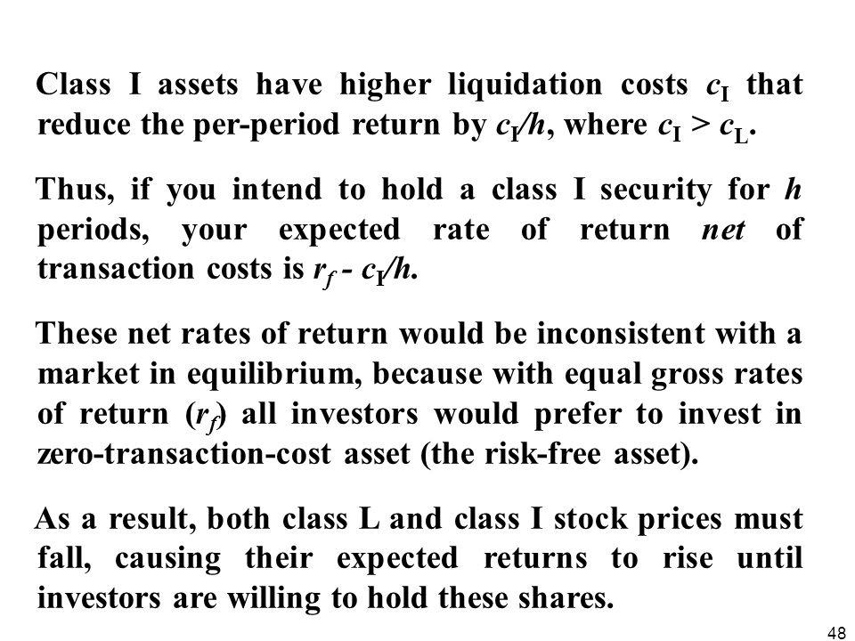 48 Class I assets have higher liquidation costs c I that reduce the per-period return by c I /h, where c I > c L. Thus, if you intend to hold a class