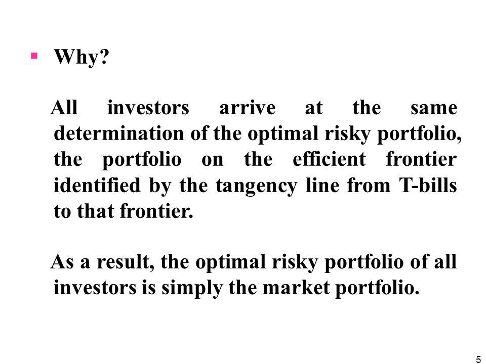 5 Why? All investors arrive at the same determination of the optimal risky portfolio, the portfolio on the efficient frontier identified by the tangen
