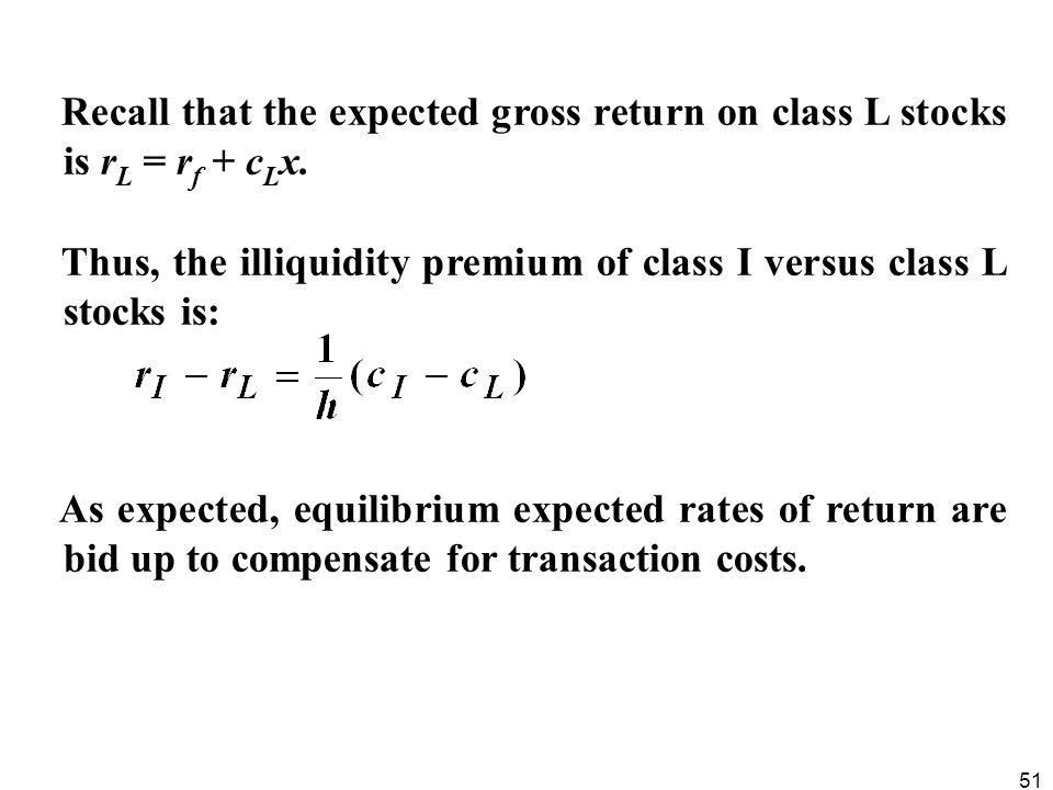51 Recall that the expected gross return on class L stocks is r L = r f + c L x. Thus, the illiquidity premium of class I versus class L stocks is: As