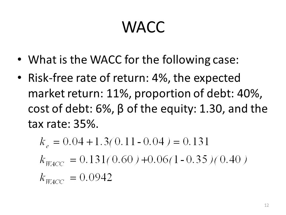 WACC What is the WACC for the following case: Risk-free rate of return: 4%, the expected market return: 11%, proportion of debt: 40%, cost of debt: 6%