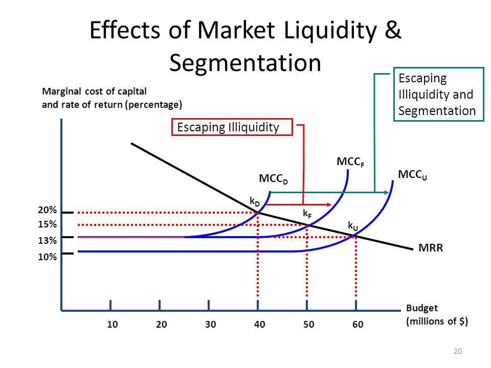 Effects of Market Liquidity & Segmentation 20 Budget (millions of $) Marginal cost of capital and rate of return (percentage) 102030405060 20% 15% 13%