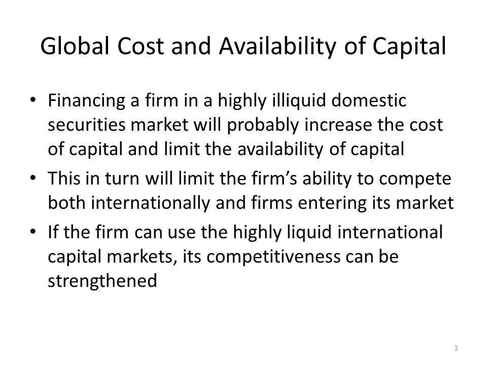 Cost of Capital for MNEs vs.